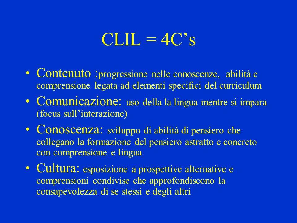 CLIL = 4C'sContenuto :progressione nelle conoscenze, abilità e comprensione legata ad elementi specifici del curriculum.