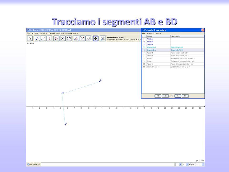 Tracciamo i segmenti AB e BD
