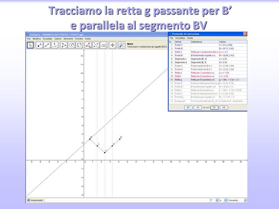 Tracciamo la retta g passante per B' e parallela al segmento BV