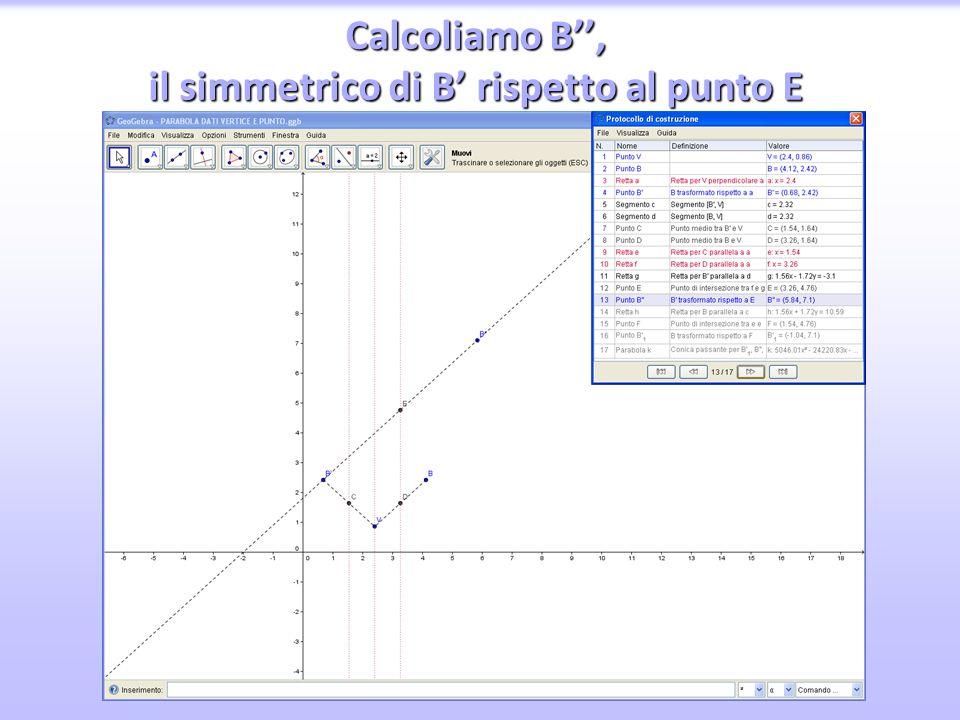 Calcoliamo B'', il simmetrico di B' rispetto al punto E