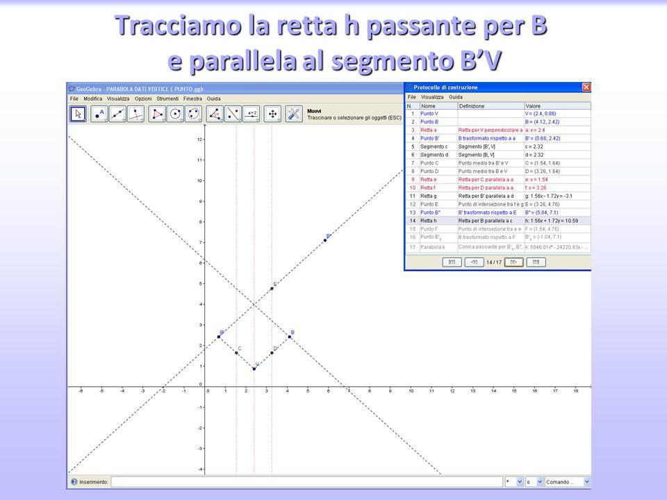 Tracciamo la retta h passante per B e parallela al segmento B'V