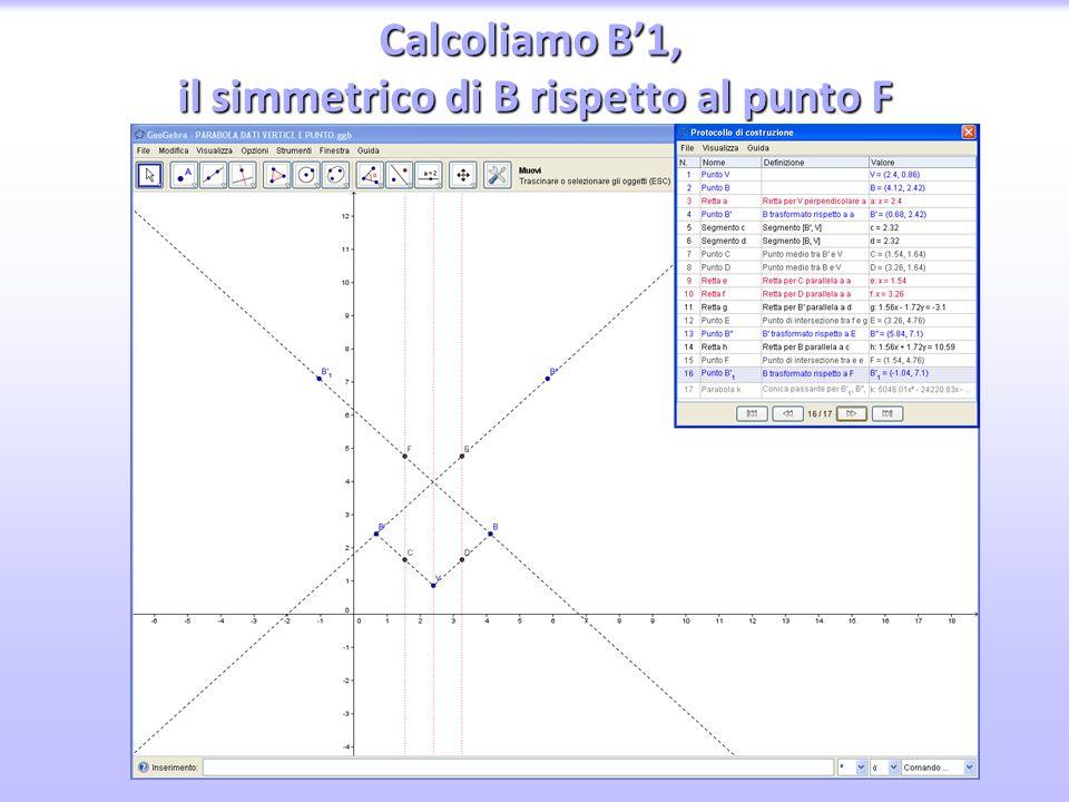 Calcoliamo B'1, il simmetrico di B rispetto al punto F