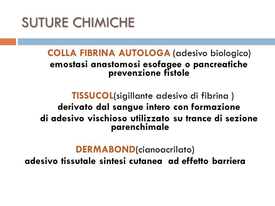 SUTURE CHIMICHE COLLA FIBRINA AUTOLOGA (adesivo biologico)