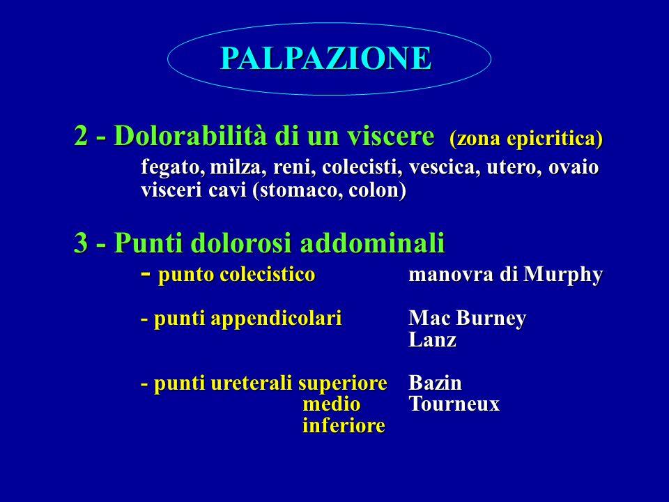 PALPAZIONE 2 - Dolorabilità di un viscere (zona epicritica)