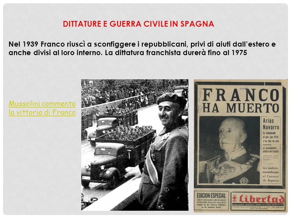 DITTATURE E GUERRA CIVILE IN SPAGNA