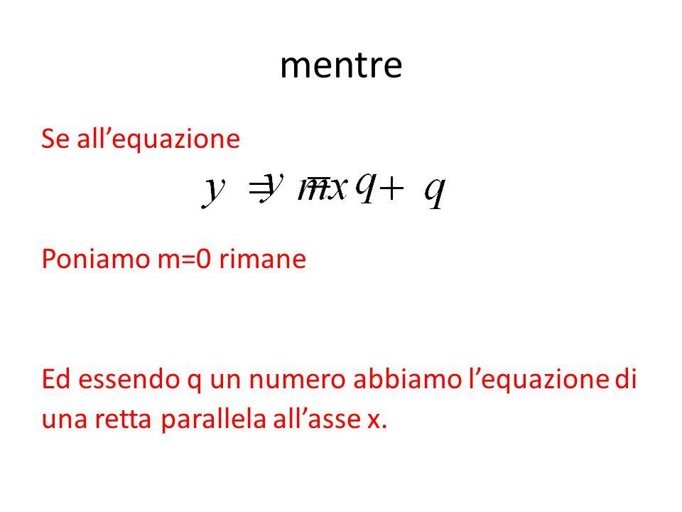 mentre Se all'equazione Poniamo m=0 rimane Ed essendo q un numero abbiamo l'equazione di una retta parallela all'asse x.