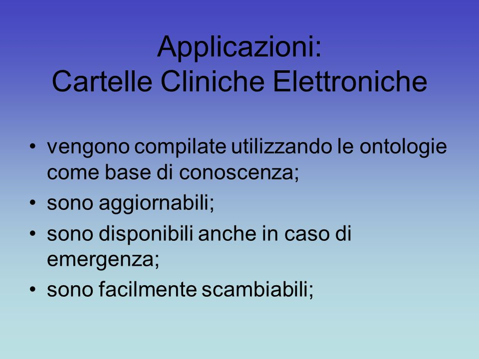 Applicazioni: Cartelle Cliniche Elettroniche