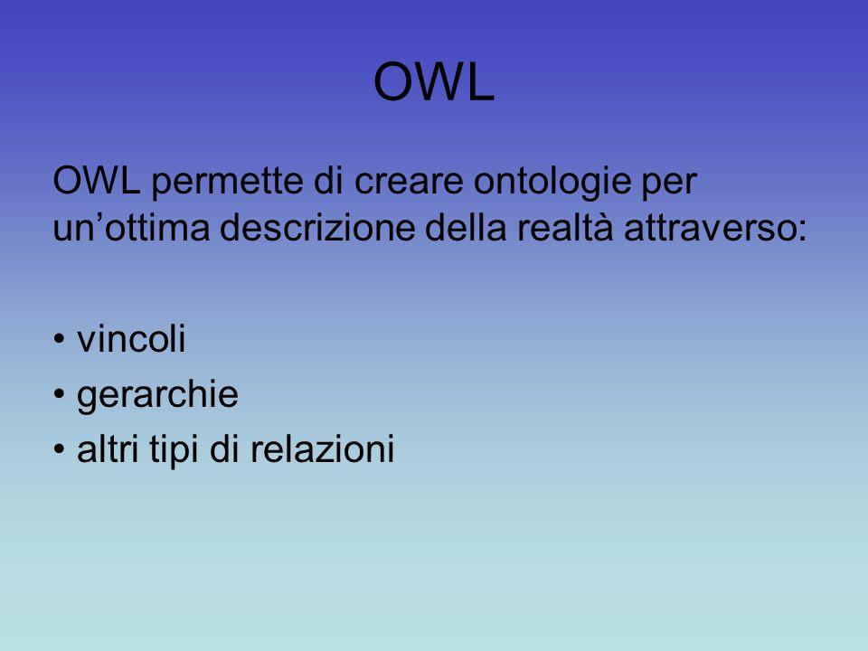 OWL OWL permette di creare ontologie per un'ottima descrizione della realtà attraverso: vincoli. gerarchie.