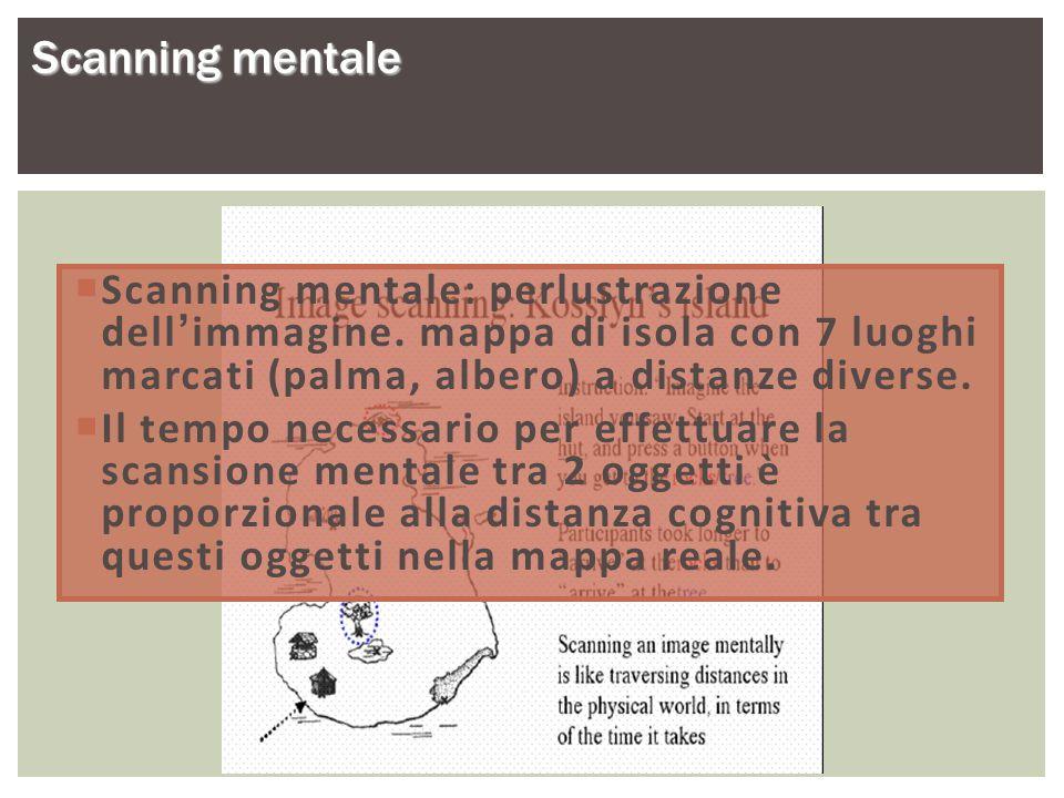Scanning mentale Scanning mentale: perlustrazione dell'immagine. mappa di isola con 7 luoghi marcati (palma, albero) a distanze diverse.