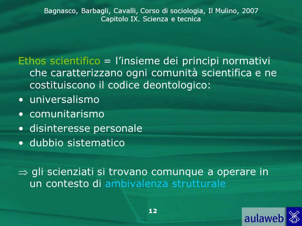 Ethos scientifico = l'insieme dei principi normativi che caratterizzano ogni comunità scientifica e ne costituiscono il codice deontologico: