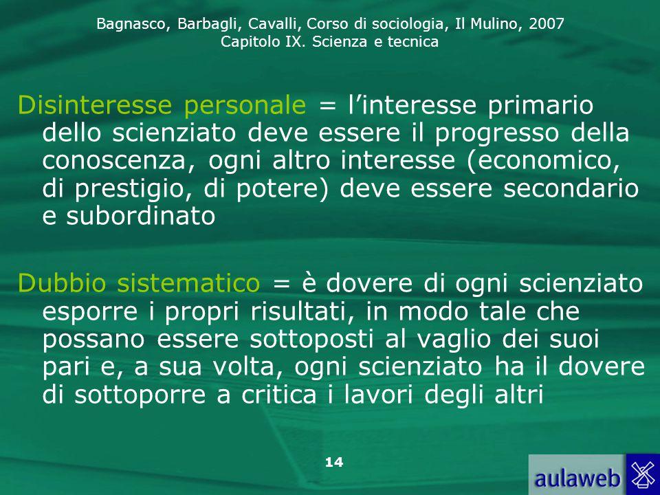 Disinteresse personale = l'interesse primario dello scienziato deve essere il progresso della conoscenza, ogni altro interesse (economico, di prestigio, di potere) deve essere secondario e subordinato