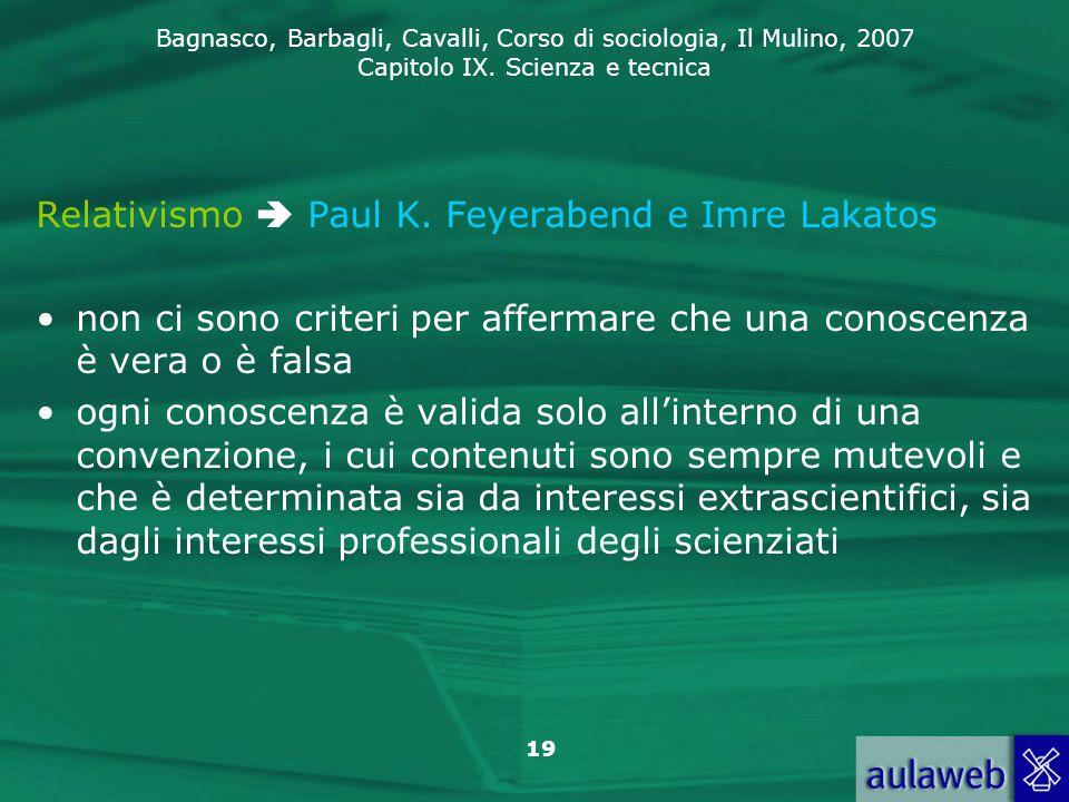 Relativismo  Paul K. Feyerabend e Imre Lakatos