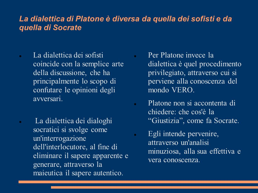 La dialettica di Platone è diversa da quella dei sofisti e da quella di Socrate