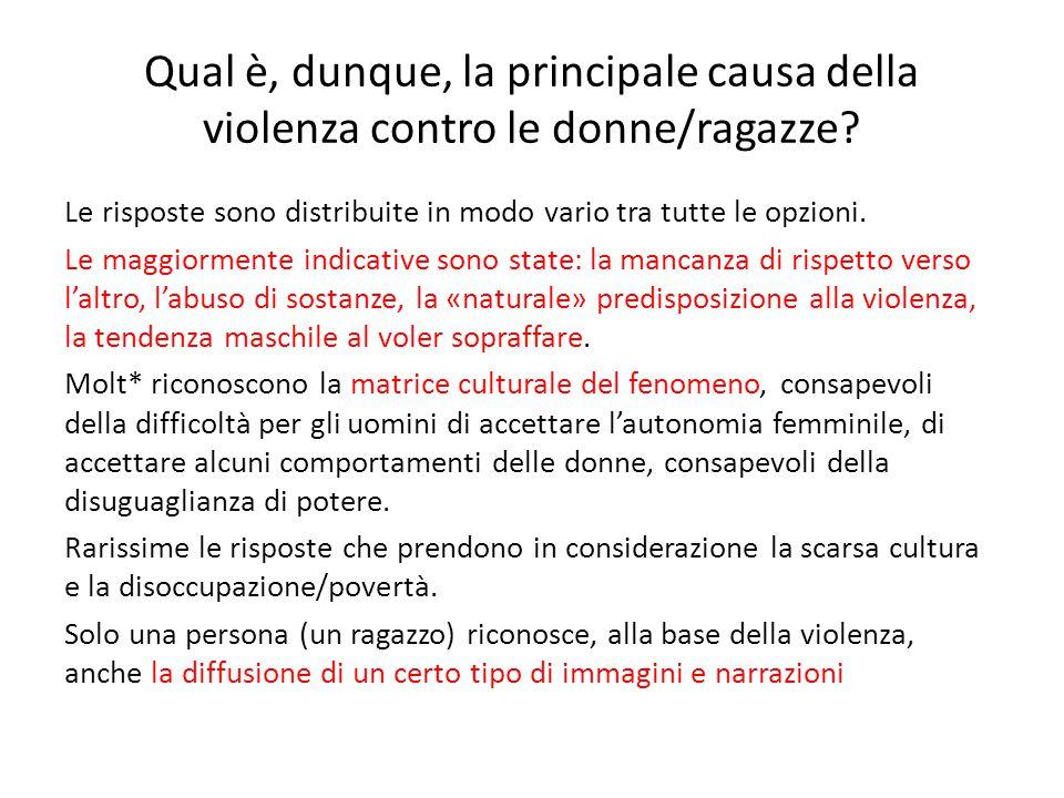 Qual è, dunque, la principale causa della violenza contro le donne/ragazze