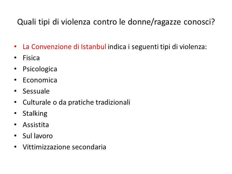 Quali tipi di violenza contro le donne/ragazze conosci