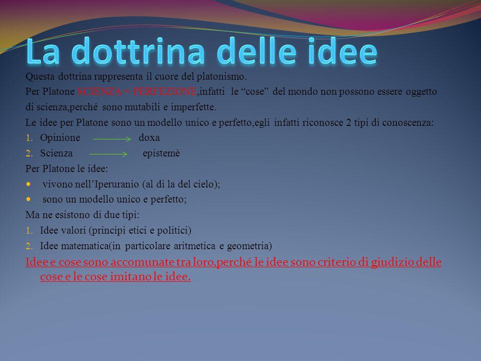 La dottrina delle idee Questa dottrina rappresenta il cuore del platonismo.
