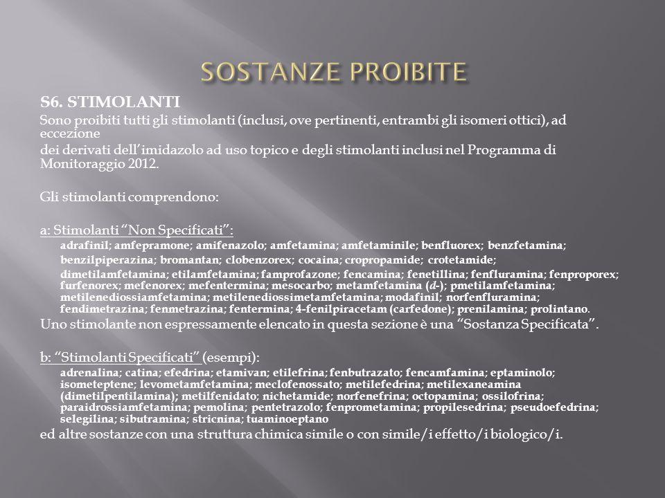 SOSTANZE PROIBITE S6. STIMOLANTI