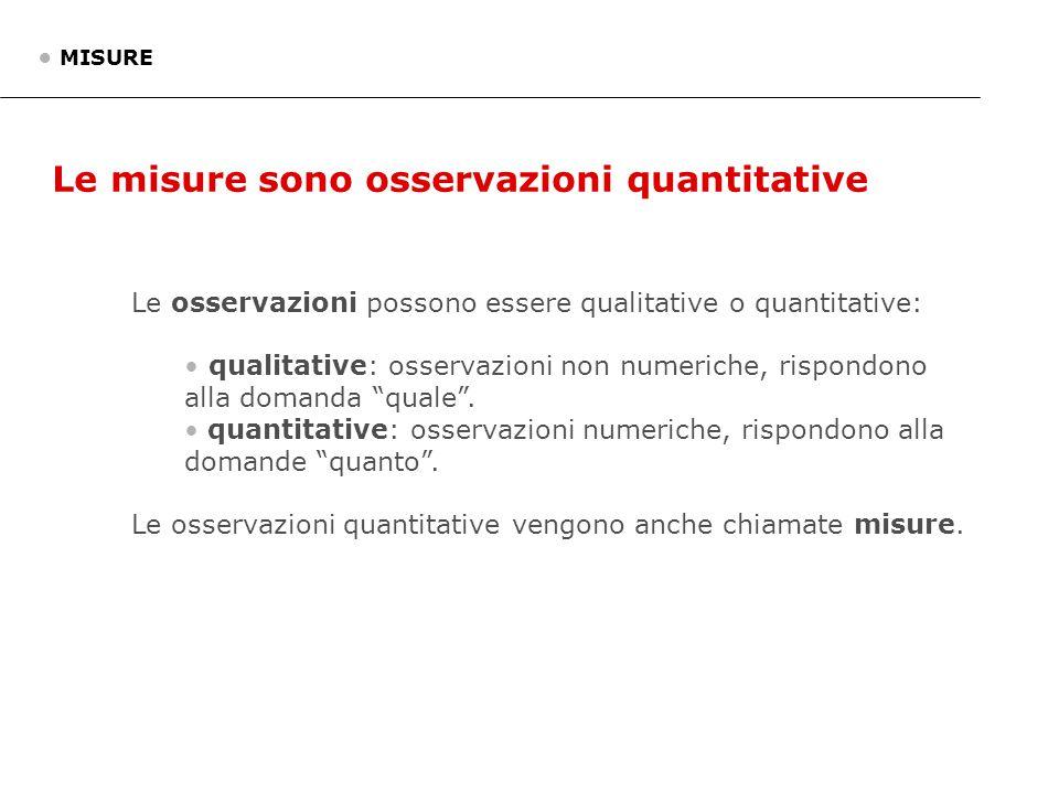 Le misure sono osservazioni quantitative