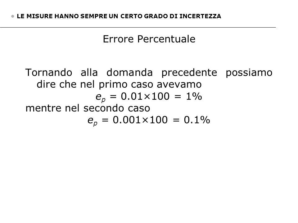 mentre nel secondo caso ep = 0.001×100 = 0.1%