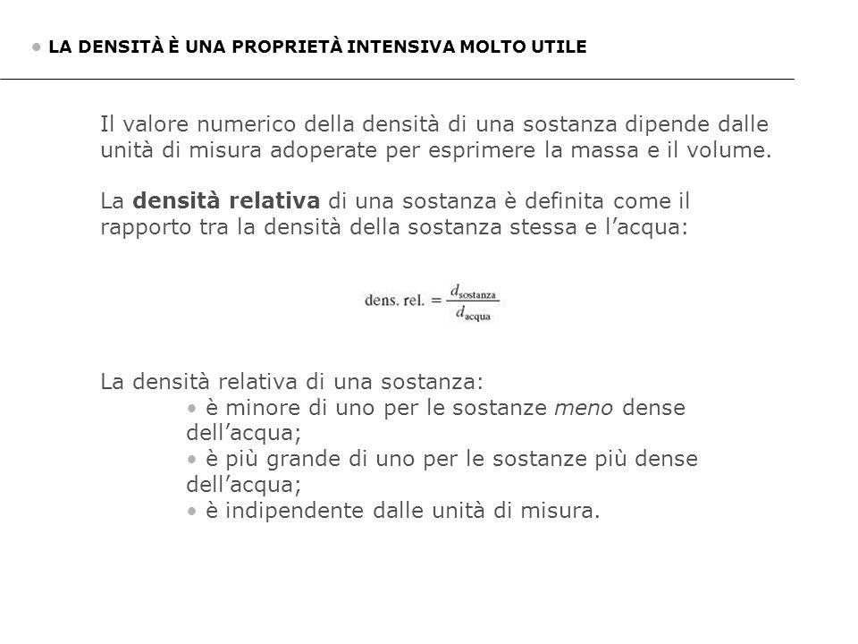 La densità relativa di una sostanza: