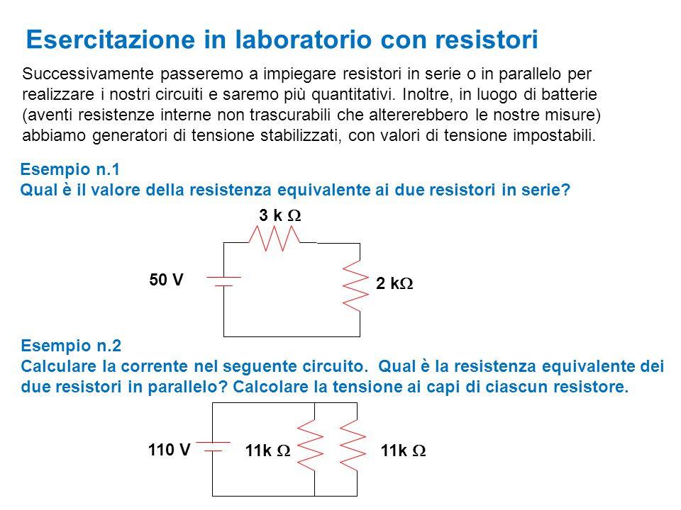 Esercitazione in laboratorio con resistori