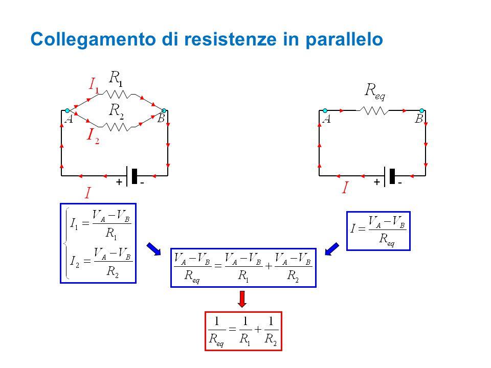 Collegamento di resistenze in parallelo