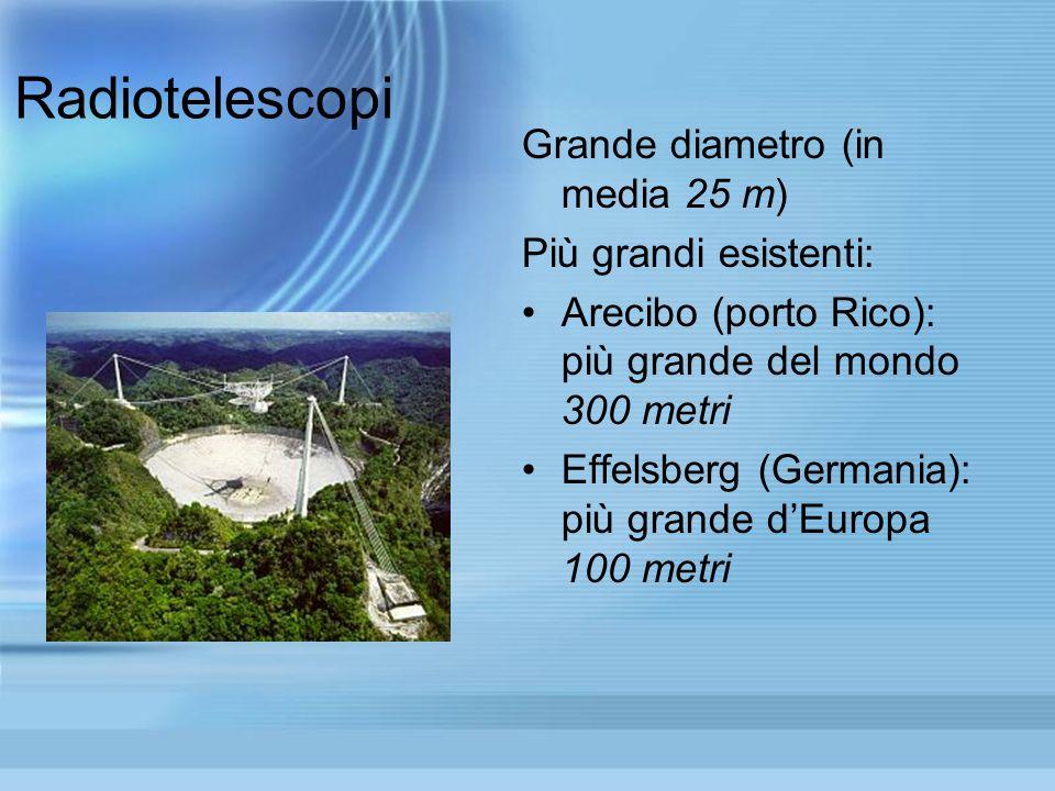 Radiotelescopi Grande diametro (in media 25 m) Più grandi esistenti: