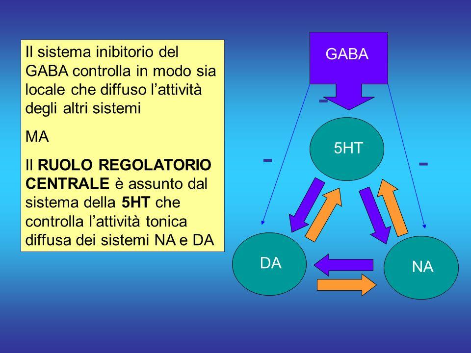 GABA Il sistema inibitorio del GABA controlla in modo sia locale che diffuso l'attività degli altri sistemi.