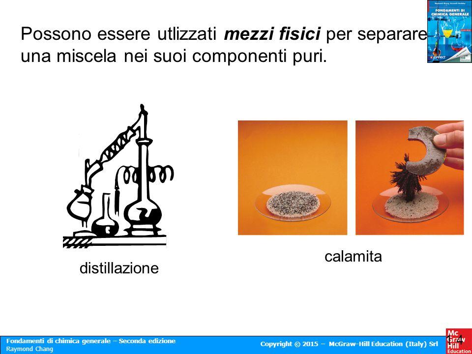 Possono essere utlizzati mezzi fisici per separare una miscela nei suoi componenti puri.