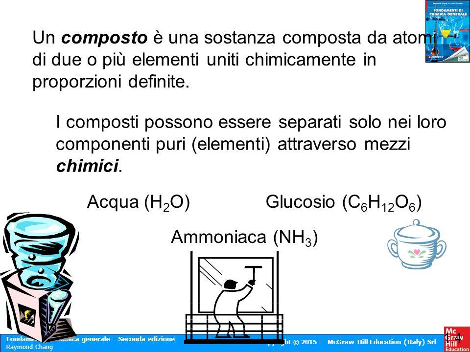 Un composto è una sostanza composta da atomi di due o più elementi uniti chimicamente in proporzioni definite.