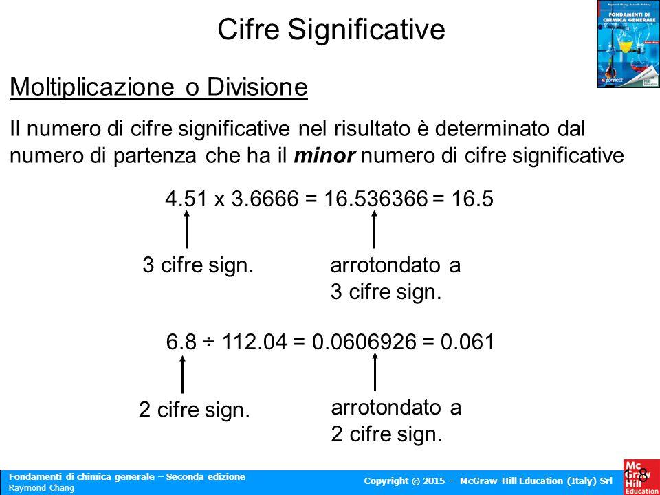 Cifre Significative Moltiplicazione o Divisione