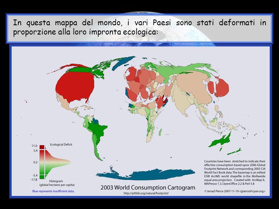 In questa mappa del mondo, i vari Paesi sono stati deformati in proporzione alla loro impronta ecologica: