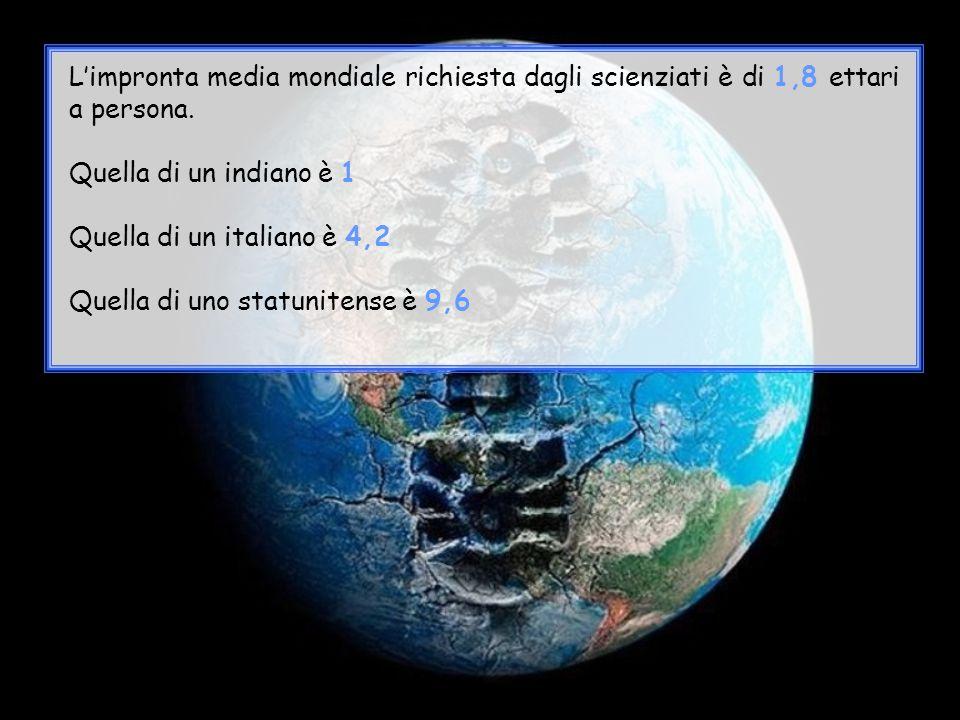 L'impronta media mondiale richiesta dagli scienziati è di 1,8 ettari a persona.