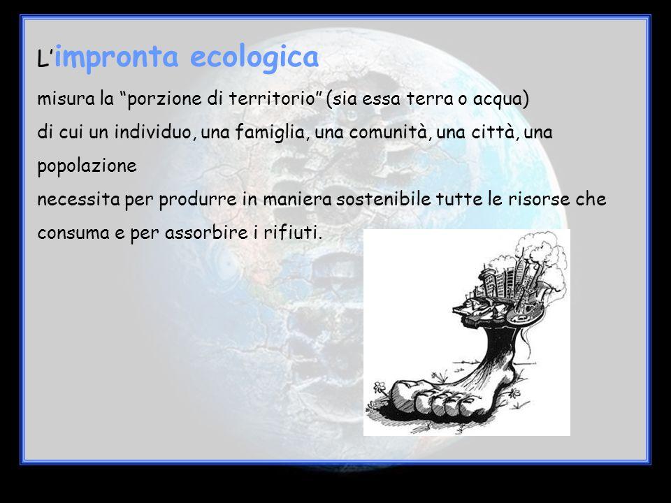 L'impronta ecologica misura la porzione di territorio (sia essa terra o acqua)