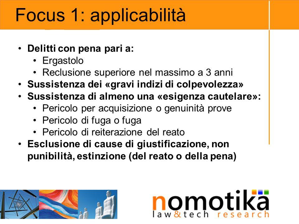 Focus 1: applicabilità Delitti con pena pari a: Ergastolo