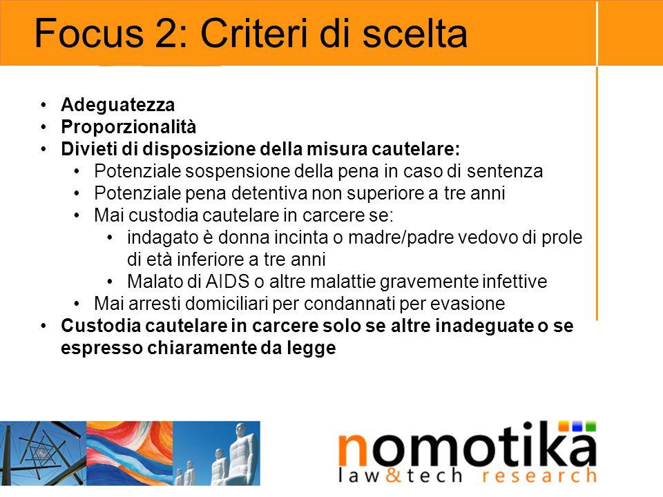 Focus 2: Criteri di scelta
