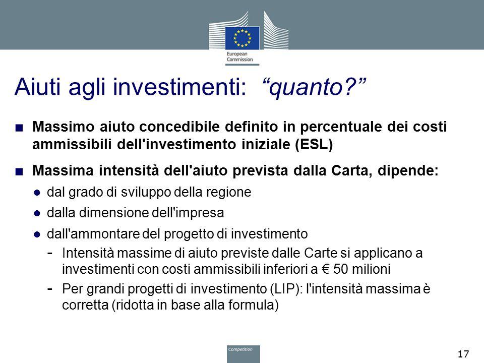 Aiuti agli investimenti: quanto