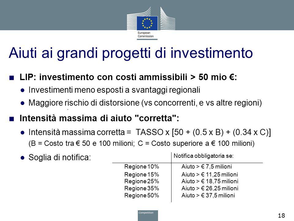 Aiuti ai grandi progetti di investimento