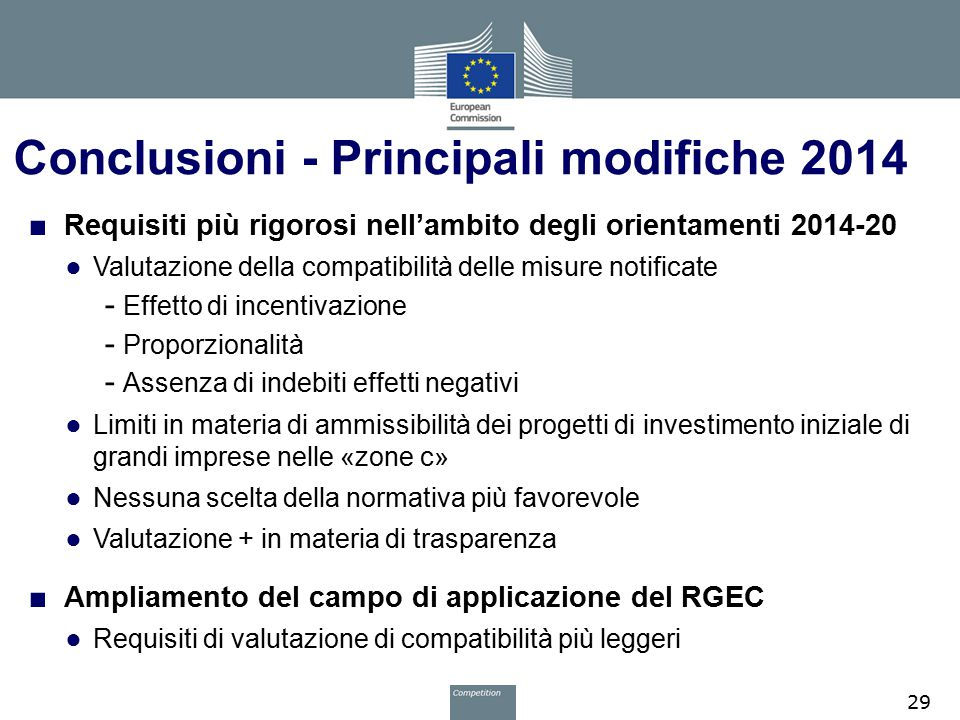 Conclusioni - Principali modifiche 2014
