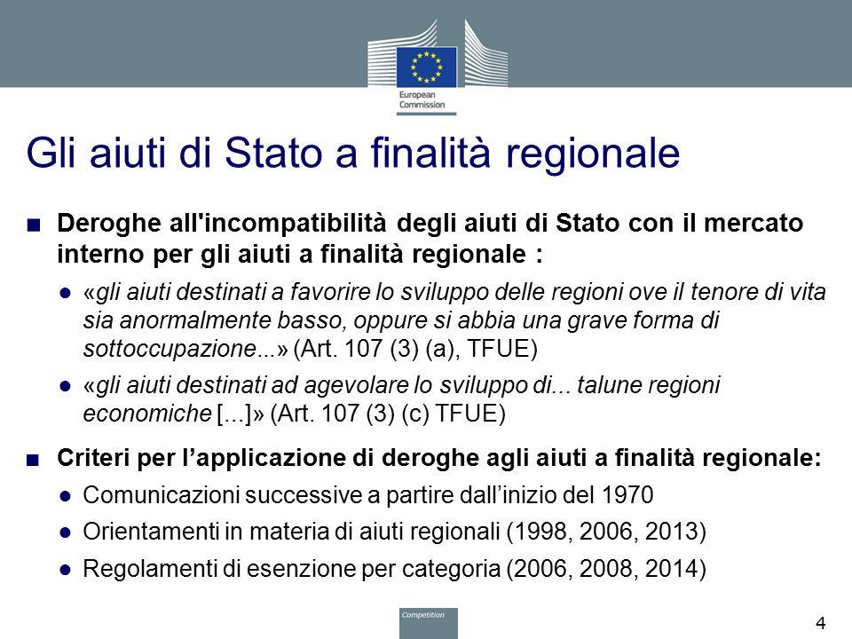 Gli aiuti di Stato a finalità regionale