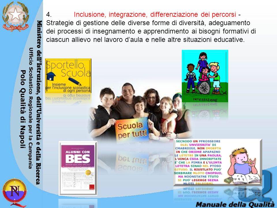 4. Inclusione, integrazione, differenziazione dei percorsi - Strategie di gestione delle diverse forme di diversità, adeguamento dei processi di insegnamento e apprendimento ai bisogni formativi di ciascun allievo nel lavoro d'aula e nelle altre situazioni educative.