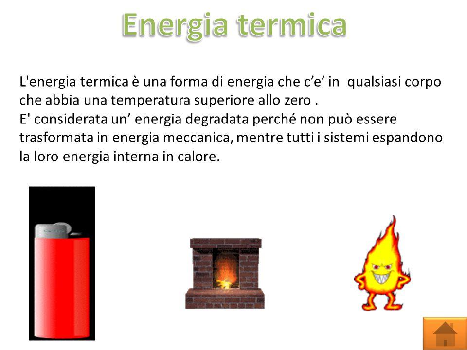 Energia termica L energia termica è una forma di energia che c'e' in qualsiasi corpo che abbia una temperatura superiore allo zero .