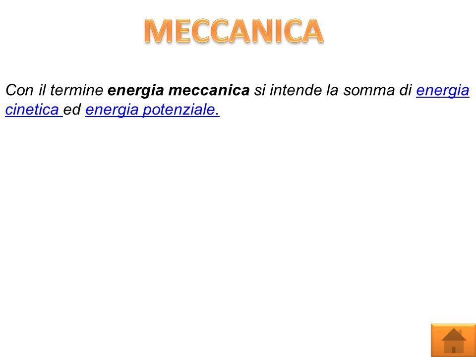 MECCANICA Con il termine energia meccanica si intende la somma di energia cinetica ed energia potenziale.