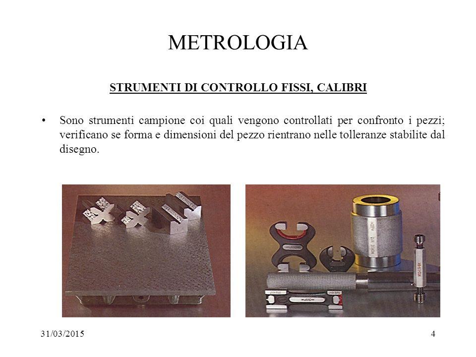 METROLOGIA STRUMENTI DI CONTROLLO FISSI, CALIBRI