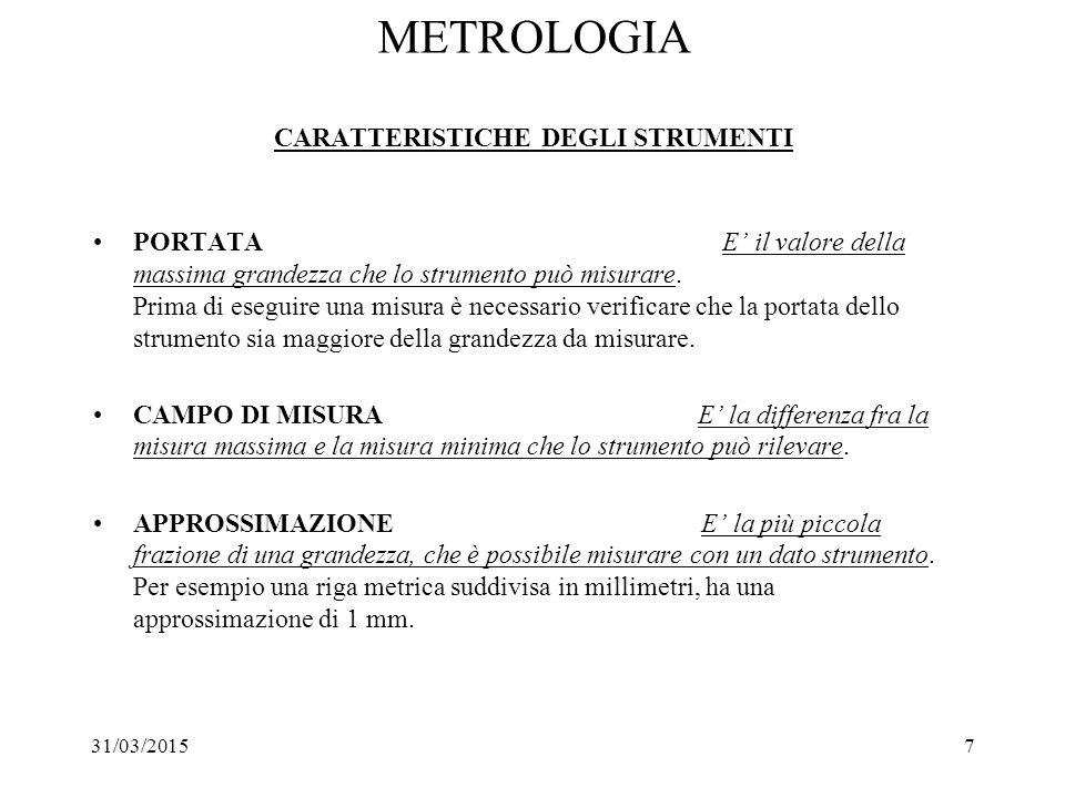 METROLOGIA CARATTERISTICHE DEGLI STRUMENTI