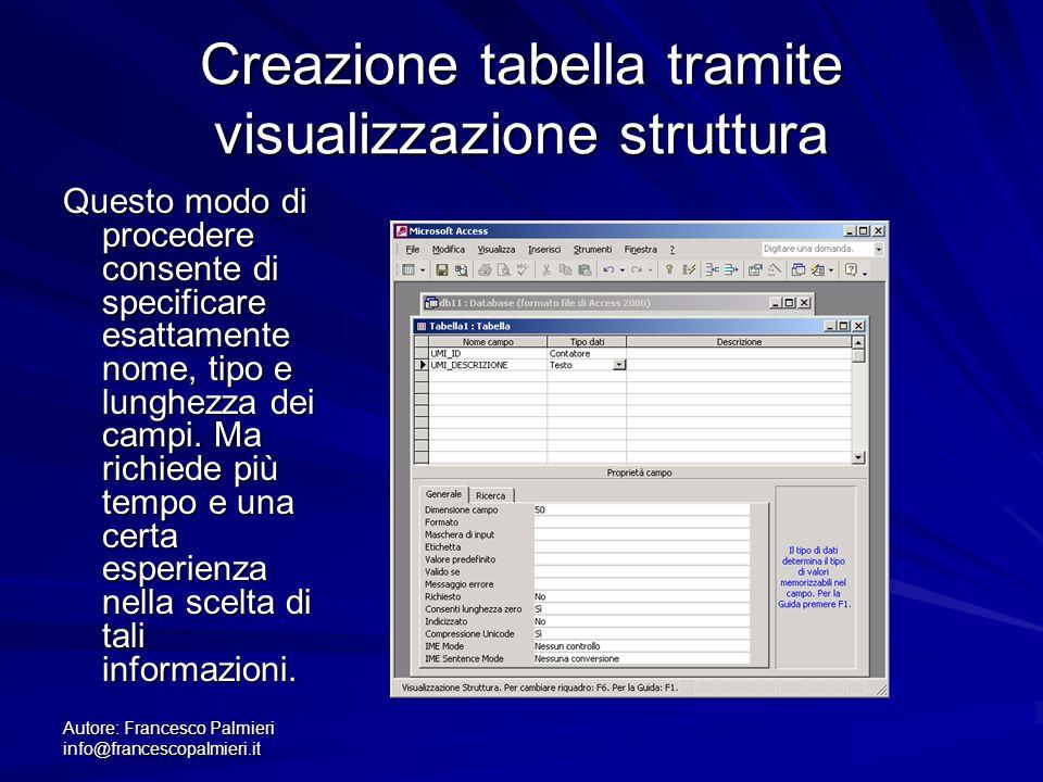 Creazione tabella tramite visualizzazione struttura