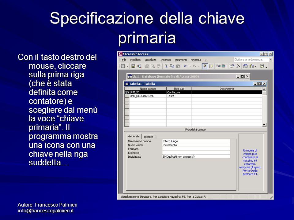 Specificazione della chiave primaria