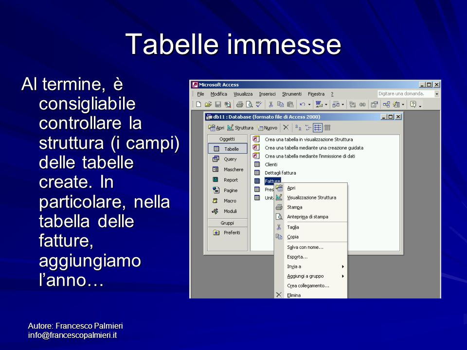Tabelle immesse