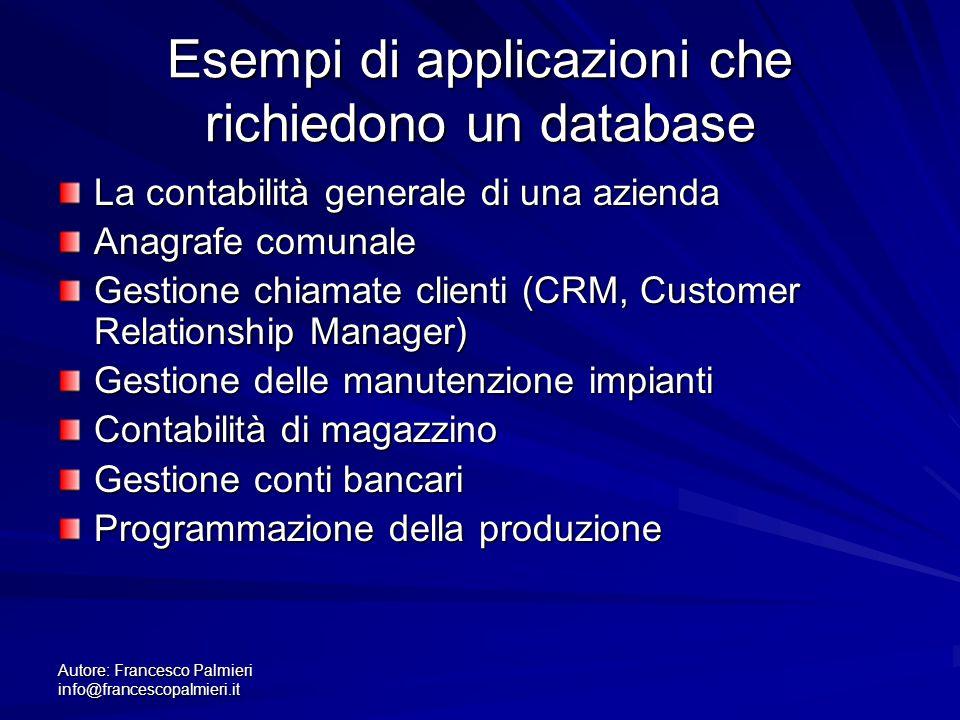 Esempi di applicazioni che richiedono un database
