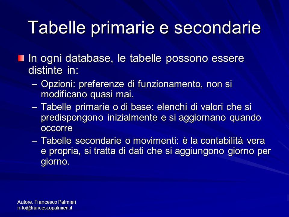 Tabelle primarie e secondarie